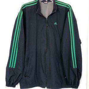 Adidas navy and green windbreaker
